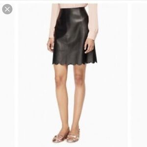 NWT Kate Spade leather scallop skirt. Size 8